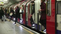 Tube Train Doors Open Stock Footage