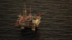 Oil Rig Drilling Platform Ocean Sunset Stock Footage
