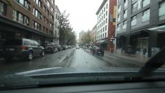 Stock Video Footage of Driving east on Cordova Street. Rainy day in Vancouver, BC.