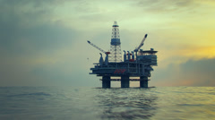 Oil Rig Drilling Platform Ocean Sunset Stock Footage