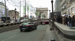 Paris - Traffic and Pedestrians Along Champs de Elysee_1 Stock Footage