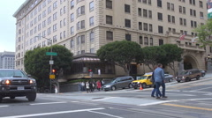 Traffic street downtown San Francisco people commute uphill downhill day icon US Stock Footage