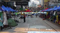 2 Shots: Hong Kong occupy protests in Wanchai October 2014 Stock Footage