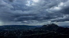 4K Timelapse Dark Clouds Over The Hollywood Sign Stock Footage