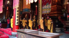 Stock Video Footage of Monks in Shanghai Temple in China
