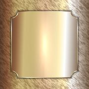Vector precious metal golden plate on patina background - stock illustration