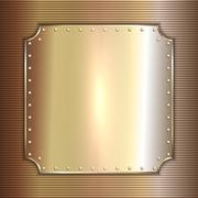 Vector precious metal golden plate with rivets background Stock Illustration