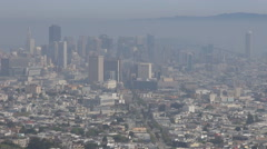 Panoramic view financial district suburban area San Francisco landmark misty day Stock Footage