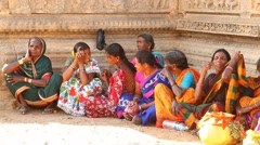 Village Poor Indian Womens in temple Rajasthan India Stock Footage