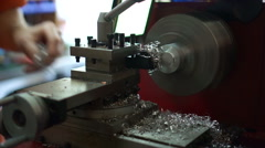 Metal lathe smooths the end of a aluminum rod. Stock Footage