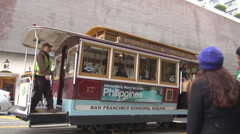 Famous cable car station boarding San Francisco boulevard avenue landmark icon  Stock Footage