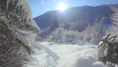 AERIAL: Flying out of winter forest over beautiful snowy lake Stock Footage