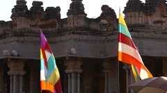 Colorful Flag in the temple Stock Footage