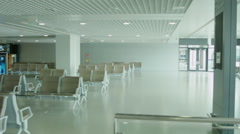 Empty airport waiting area near gate at Shanghai Pudong airport. Stock Footage