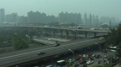 Traffic on polluted Beijing highways. Stock Footage