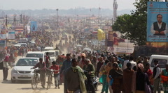 Crowd at Kumbh Mela Festival in Allahabad, Uttar Pradesh, India Stock Footage