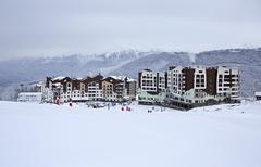 Hotel Rosa Ski Inn in Roza Khutor plateau - stock photo