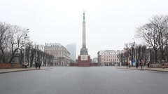 Latvian monument of freedom in a cloudy day Stock Footage