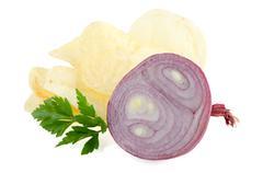 Potato chips and onion Stock Photos