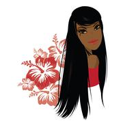 Pretty young african american woman, Vector illustration. Stock Illustration