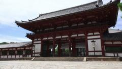 Pan Of The Todai-ji Temple Building Nara Japan On Sunny Day Stock Footage