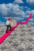 Stock Illustration of Pushing Cash Up Hill.