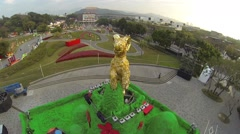 Aerial flight over golden goat - Taipei yuanshan lantern festival Stock Footage