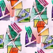 Stock Illustration of seamless  Triangles and strips watercolor artist wallpaper moder