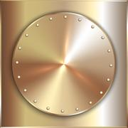 Vector precious metal round golden plate with rivets - stock illustration