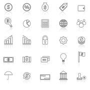 Finance line icons with reflect on white background Stock Illustration
