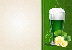 Green beer with gold coins and clover Piirros