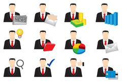 Businessman Color Vector Icon Set Stock Illustration