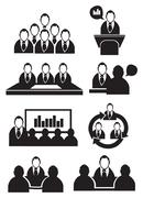 Business Meeting Vector Icon Set Stock Illustration