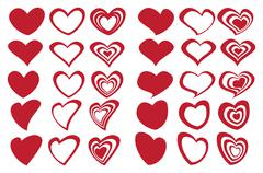 Latte Art Inspired Fancy Heart Shape Design Icon Set Stock Illustration
