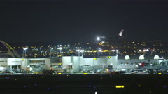 LAX Landing at Night Stock Footage