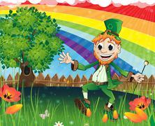 Leprechaun on a spring meadow - stock illustration