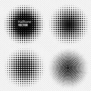 Set of Black Abstract Halftone Circles Logo, vector illustration - stock illustration