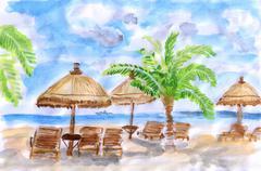Illustration Seaside holiday Stock Illustration