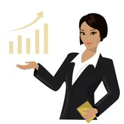 Stock Illustration of asian business woman pointing to  business trends