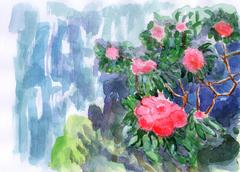 Flowers on the cliff Stock Illustration