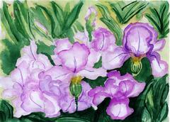 Watercolor illustration The flowers in full bloom Stock Illustration