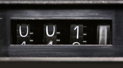 Old mechanical counter counts numbers from 0 to 2350 Stock Footage
