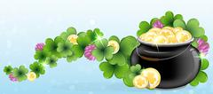 Pot with gold and shamrock clover Stock Illustration