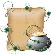 Pot with gold and the manuscript - stock illustration