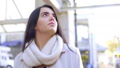 Mixed Race Young Woman Looks Around At Her Surroundings In The City Stock Footage