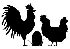 Cock and hen silhouettes - stock illustration