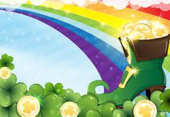 Rainbow and  leprechaun shoe - stock illustration