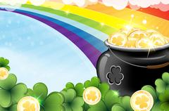 Rainbow and pot with gold - stock illustration