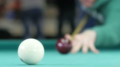 Billiard balls roll on the green table Stock Footage