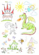 Set sketches with characters of fairy-tales - stock photo